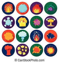 Explosions set icons in flat style. Big collection of explosions vector symbol stock illustration