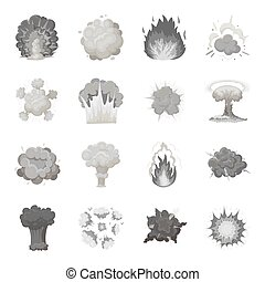Explosions set icons in monochrome style. Big collection of explosions vector symbol stock illustration