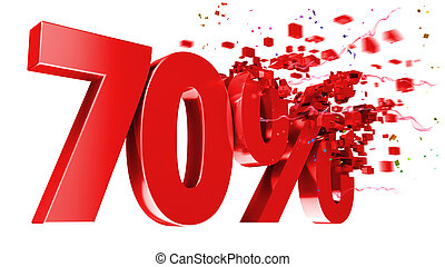 Explosive 70 percent off isolated on white background