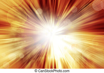 Explosive background - Bright explosion. Circles on orange...