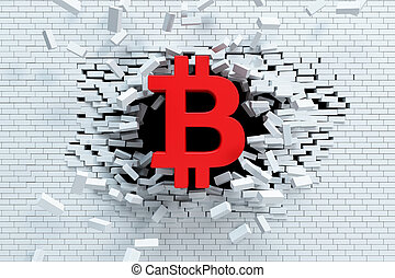 explosive growth of bitcoin, 3d concept