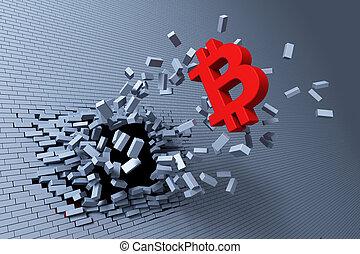 explosive growth of bitcoin, 3d rendering concept