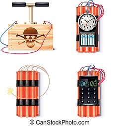Set of explosives with different triggers and detonator
