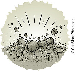 Explosive Impact - Cartoon rocks explode from an explosive ...