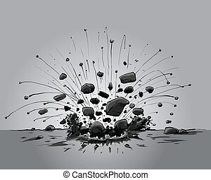 Explosive Impact - Cartoon rocks explode from an explosive...