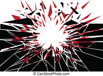Explosive Impact - Silhouette of shattered fragments from an...