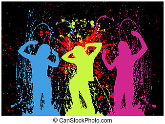 Explosive party girls dancing on a black background