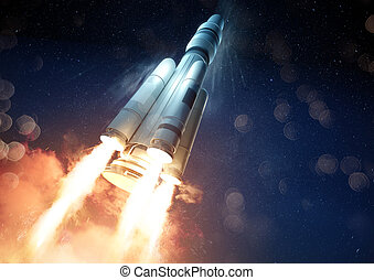 An extreme angle of a rocket launching a probe into space. 3D illustration.