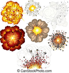 Different Explosions, Impacts, Eruptions, set of vector illustrations