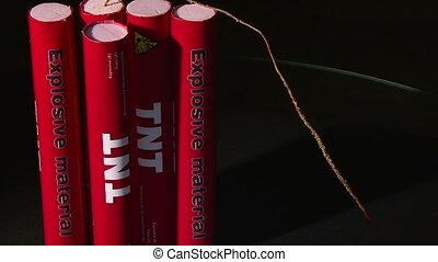 Explosive TNT, fuse, burning, extinguished wick