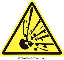 Explosive. Warning danger. Yellow triangle. Sign for collage on white background
