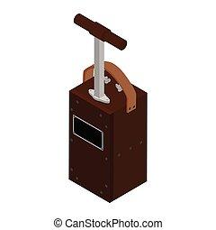 explosivo, aislado, máquina, voladura, precaución, blanco, box., fondo., detonador