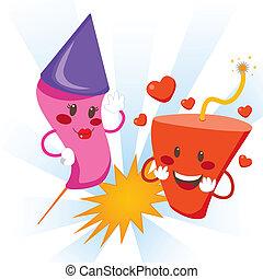 explosivo, amor, fuegos artificiales