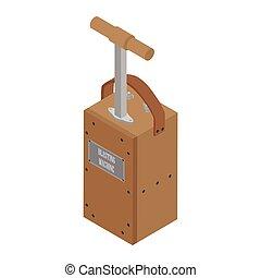 explosivo, voladura, blanco, fondo., box., aislado, detonador, precaución, máquina
