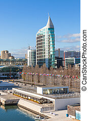 Expo district, Lisbon, Portugal. Vertical shot