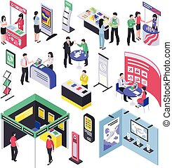 Expo Show Elements Collection - Isometric expo stand trade...