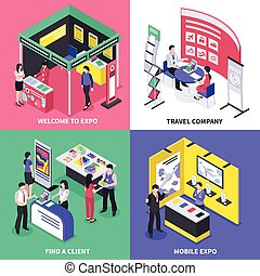 Expo Stand Design Concept - Isometric expo stand exhibition...