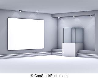 exponát, lightbox, vitrina, barometr, chodba, 3