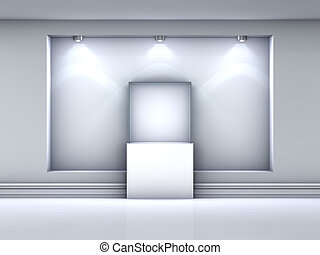 exponát, výklenek, hledáčky, vitrina, barometr, chodba, 3