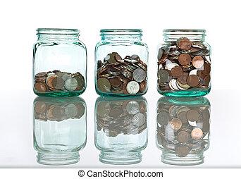 exponeringsglaskrus, med, mynter, -, besparingar, begrepp