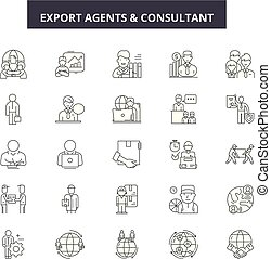 Export agents line icons, signs set, vector. Export agents outline concept, illustration: export,agent,transportation,cargo,transport,shipping,delivery,international