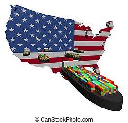 export, amerikaan, container zendt af