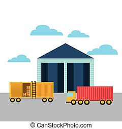 Export and import design - warehouse and yellow container...