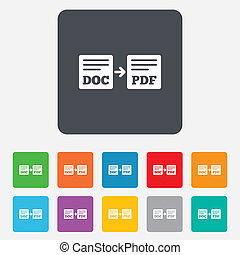 Export DOC to PDF icon. File document symbol. Rounded...