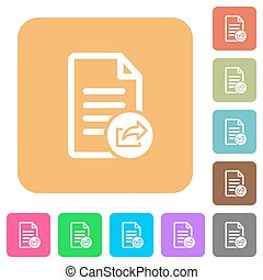 Export document rounded square flat icons