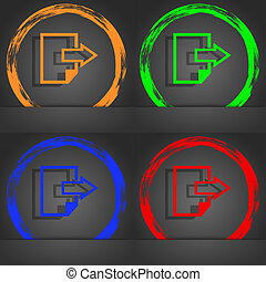 Export file icon. File document symbol. Fashionable modern style. In the orange, green, blue, red design.