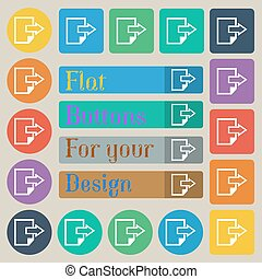 Export file icon. File document symbol. Set of twenty colored flat, round, square and rectangular buttons. Vector