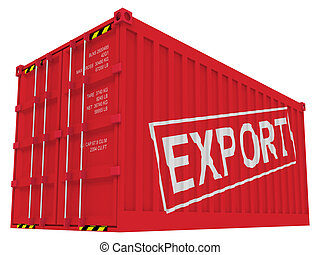 export, fracht behälter, freigestellt, weiß