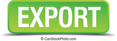 Export green 3d realistic square isolated button