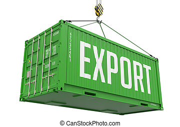Export - Green Cargo Container Hoisted by Hook, Isolated on White Background.