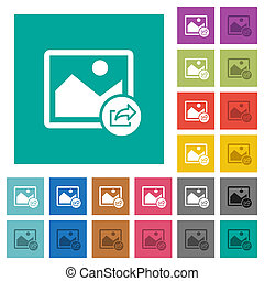 Export image square flat multi colored icons