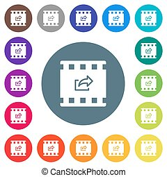 Export movie flat white icons on round color backgrounds