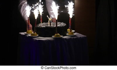 Export of cake - Child banquet take out cake with candles