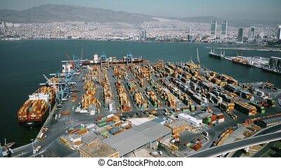Aerial view of Izmir port and Aegean sea.