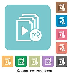 Export playlist rounded square flat icons