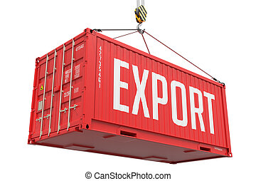 Export - Red Cargo Container hoisted with hook Isolated on White Background.