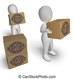 Export Stamp On Boxes Shows Global Distribution And Shipping