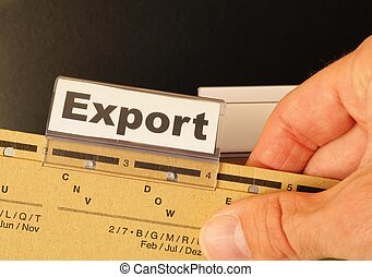 export word on business folder showing globalization trade...