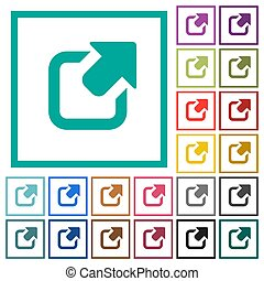 Export symbol with upper right arrow flat color icons with quadrant frames
