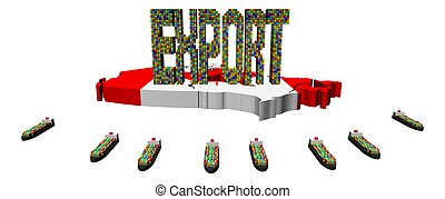 Export text ships Canadian map flag