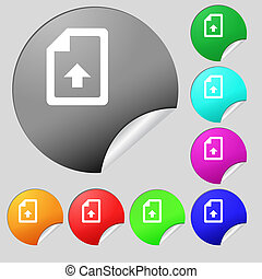 Export, Upload file icon sign. Set of eight multi-colored round buttons, stickers.
