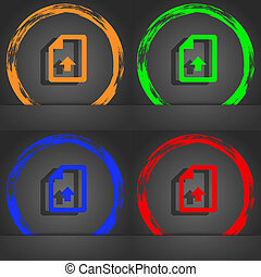 Export, Upload file icon symbol. Fashionable modern style. In the orange, green, blue, green design.