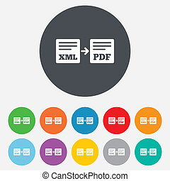 Export XML to PDF icon. File document symbol. Round...