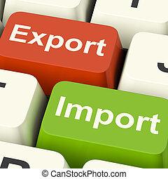 exportação, e, importação, teclas, mostra, comércio...