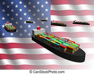 exportación, norteamericano, naves de envase