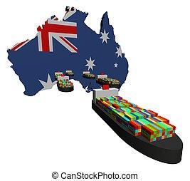 exportation, australien, navires porte-conteneurs